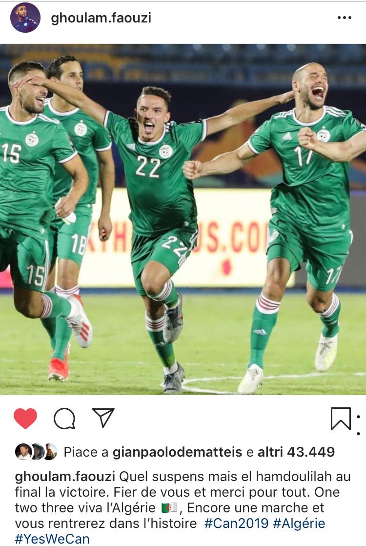 instagram ghoulam fa tifo per l'algeria